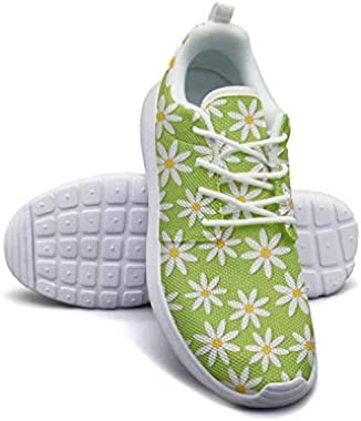 Summer Daisy Flowers Chrysanthemum Floral Green Shoes Women's Ultra Lightweight Classic Athletic Sneakers Running Shoes