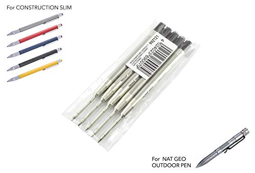TROIKA Ersatzminenset 99Z121 — 5er-Set — Kugelschreiber-Großraum-Mine G2 — RW005 — Strichstärke M - 1mm — schwarz — Metall — 99Z117 — baugleich: PARKER 50168900 u.a. — ORIGINAL-TROIKA Mine