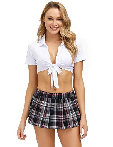 Schoolgirl Costume for Women Sexy Lingerie Set Cosplay Student Uniform Black XXL