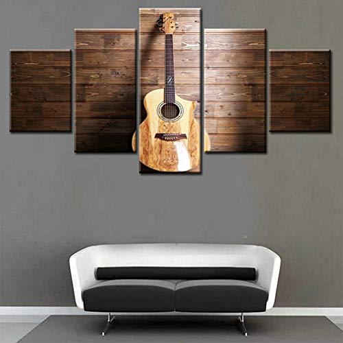 Moderne HD Afdrukken Canvas Schilderij Wall Art Poster 5 Stuk Afdrukken Gitaar Decoratie Indoor Fresco Picture Artwork,A,30x40x2+30x60x2+30x80x1