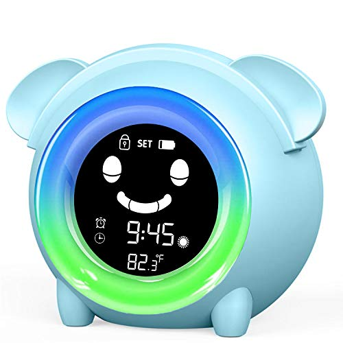 Alarm Clock for Kids Time to Wake Up Clock Children's Sleep Trainer Colorful Night Light Cute Room Clocks with Temperature NAP Timer for Toddler Boys Girls Teaches Child When to Wake Up