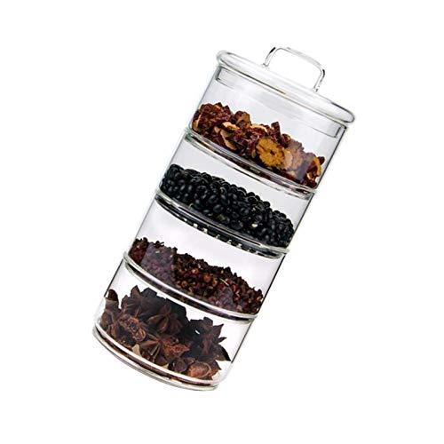 Tarros de almacenamiento de vidrio con tapas, contenedores apilables de varios niveles para cocina y alimentos de 4 pilas