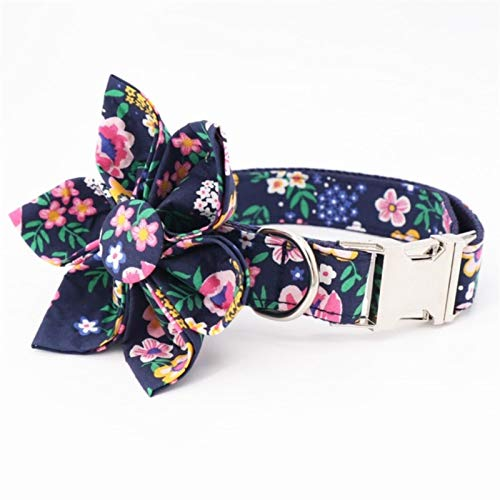 Floral Girl Dog Collar Dog Flower and Leash Set for Pet Dog Cat with Rose Gold Metal Buckle-collar with flower,M