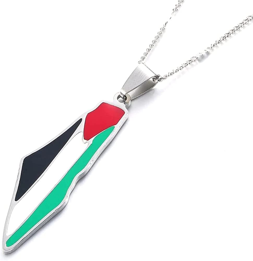 Stainless Steel Palestine Map Pendant Necklace Enamel Jewish Jewelry Israel Map Fashion Jewelry(50cm)