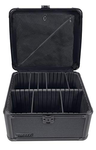 Vaultz Locking Storage Box, with Key Lock, Mesh Pocket and Adjustable Interior Compartments, Square, 10 x 10 x 6.5 Inches, Tactical Black (VZ01036)