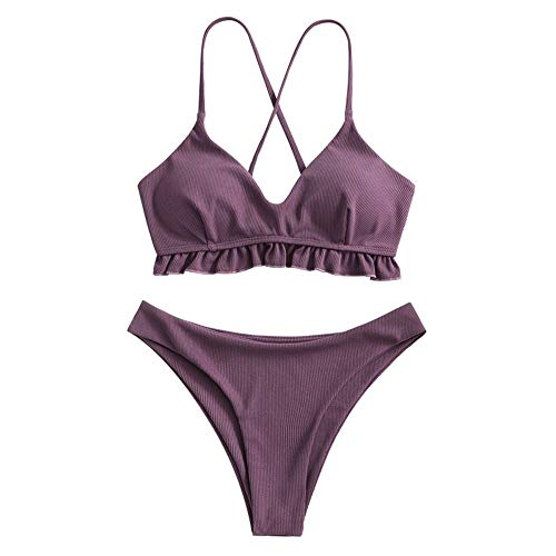 ZAFUL Damen Rüschen Criss Kreuz Gepolstert Bikini Set Gerippt Zweiteiliger Badeanzug Hoch Schnitt Badeanzug(violett,M)