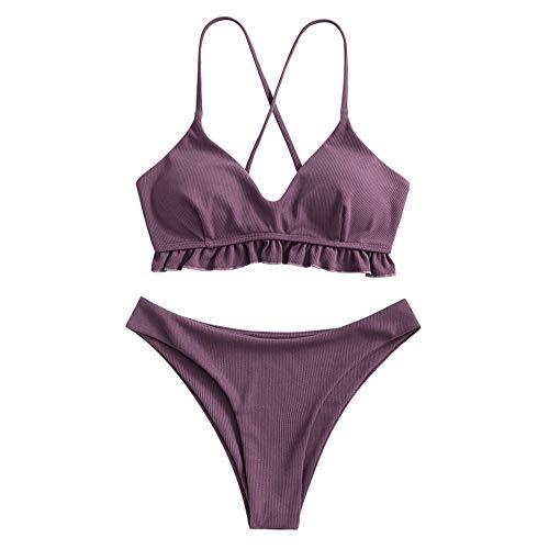 ZAFUL Damen Rüschen Criss Kreuz Gepolstert Bikini Set Gerippt Zweiteiliger Badeanzug Hoch Schnitt Badeanzug(violett,S)