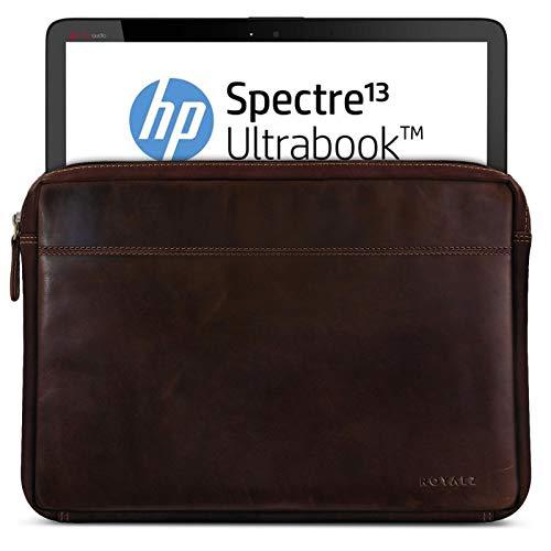 ROYALZ Tasche Leder für HP Spectre x360 Ledertasche (auch mit HP EliteBook x360 kompatibel) (13.3 Zoll) Lederhülle Hülle Sleeve Cover Schutztasche Schutzhülle Etui Vintage, Farbe:Dunkel Cognac Braun