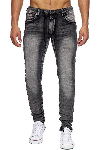 Megastyl Jeans-Hose Herren Streetwear-Style Jogg-Denim Granit Grau Stretch 5-Pocket Slim-Fit, Größe:W38 / L34, Farbe:Anthrazit