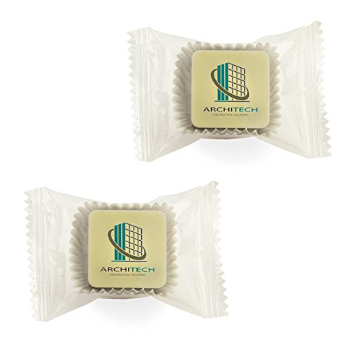 Logo-Praline in Karreeform mit Ihrem Motiv, einzeln verpackt im klarsichtigen Flow-Pack (alle vier Sorten gemischt, 100 Stück)