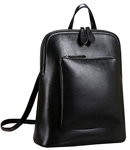 Heshe Women Leather Backpack Casual Daypack Sling Backpack Purse for Ladies and Girls (Black-Cowhide Leather)