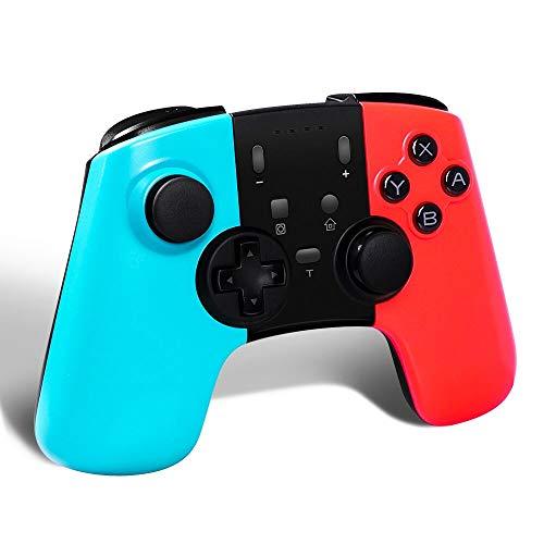 STOGA Manette sans Fil Pro pour Nintendo Switch, Manette de Gamepad sans Fil Bluetooth avec Double Fonction de Vibration et Fonctions Turbo Axes Gyroscope pour Nintendo Switch (Blau + Rouge)