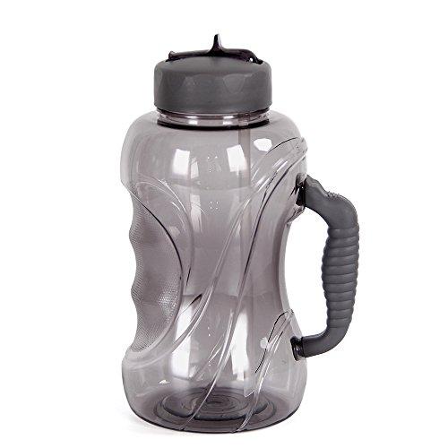 WELTRXE Trinkflasche, große Wasserflasche mit Strohhalm/Trinkhalm, 1.5L grau Sportflasche mit Tragehenkel aus Tritan, 1500 ml dicht Auslaufsicher, Laufen Fitness Reisen Arbeiten