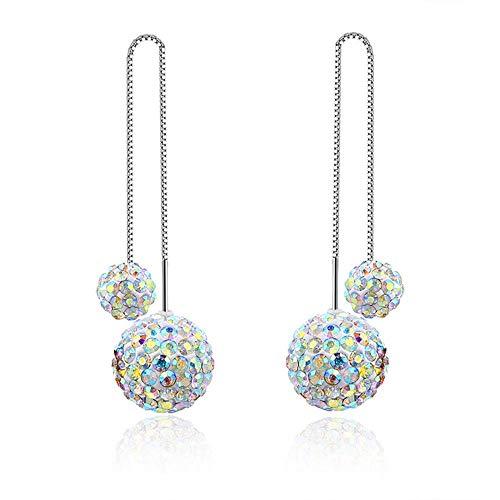 Pendientes largos de bola de cristal con diseño de bola doble de...