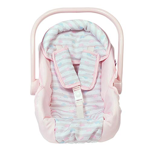 Adora Baby Doll Car Seat - Pink Car Seat Carrier, Fits Dolls Up to 20 inches, Stripe Hearts Design, Multicolor