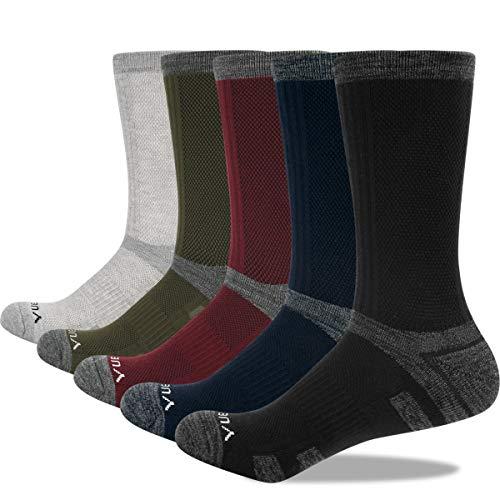 Calcetines Deporte Largos Altos Gruesos y Termicos para Hombre Algodón Transpirable Adecuado para Running Senderismo Tenis Ciclismo Trabajo 5 Pack XL