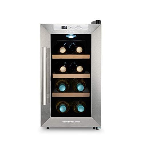IKOHS WINECOOLER WOOD S - Vinoteca de 8 botellas, 23 l, 60 W, Luz LED, Display Digital, 3 Estantes, Doble Aislamiento, Zonas de temperatura de 8-18 grados, Baldas Acero Inoxidable