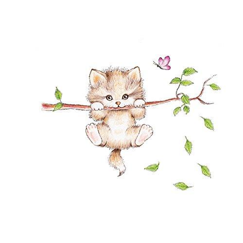 MoGist Wandaufkleber Cartoon Katzen Schmetterlings Baum Muster Abnehmbare Wandtattoo Wandsticker für Wohnzimmer Schlafzimmer Kinderzimmer