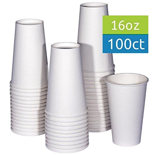 tashibox 16Oz Weiß Hot Drink Papier Tassen–100Zählen–Kaffee, Tee, Hot Cocoa