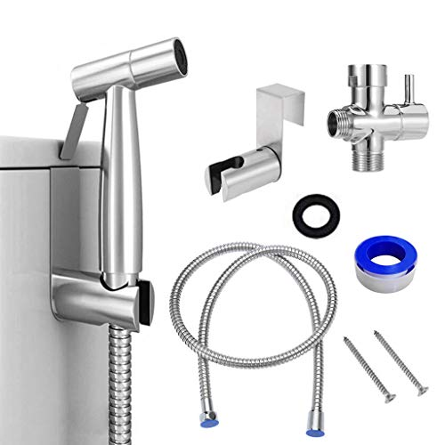 QuHeDi Handheld Sprayer Set, Stainless Steel Bathroom Toilet Bidet Hygiene Sprayer Attachment, Adjustable Pressure Baby Diaper Cloth Sprayer for Family Use