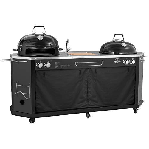 Jamestown TYSON 4-Brenner Grillküche mit Waschbecken inkl. Pizza-Grillofen und Pizzastein | Hochwertiger Gasgrill für ein Barbecue in kleiner und großer Runde