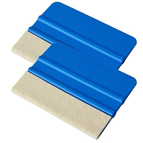 Ehdis [2PCS Qualität Filzkante Andrückrakel 4 Zoll für Auto-Vinyl Scraper Film Tint Aufkleber Applikator Werkzeug mit Wollfilz Rand - Blau weichen PP Scraper