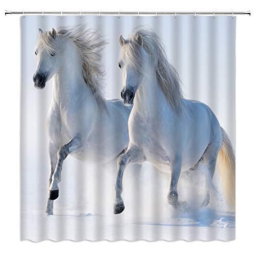 Schwarz Weiß Pferd Duschvorhänge Starkes Tier läuft auf dem Schnee Badezimmer Dekor Home Badewanne Wasserdichter Polyester Vorhang 90 * 180cm