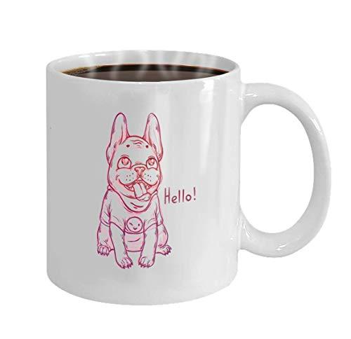 Not Applicable Taza de café Personalizada Regalos de cerámica de 11 onzas Taza de té Boceto Fresco Retrato Bulldog francés con Sonrisa Emoji Gráfico Dibujos Animados Perro Gordo Feliz