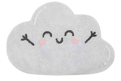 Lorena Canals Alfombra Lavable Shaped Alfombra Lavable - Happy Cloud Melocotón mágico de algodón de azúcar Gris - Encantador Gris-Blanco tierno - 85x120 cm