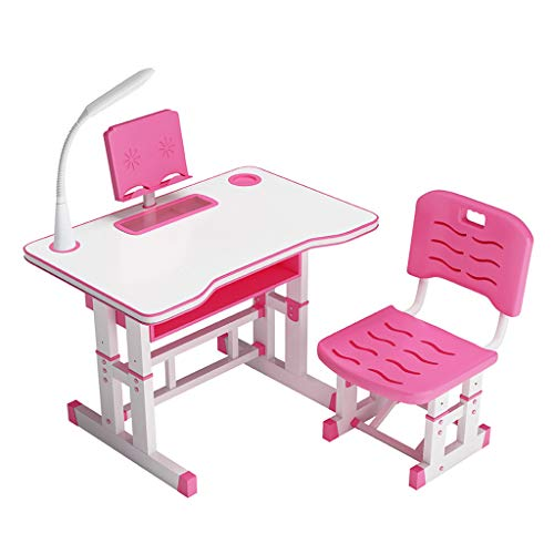 Goldweather Children Height Adjustable Workstation Kids Study Table and Chair Set, Writing Desk w/Protect Eye Lamp, Bookstand (Pink)