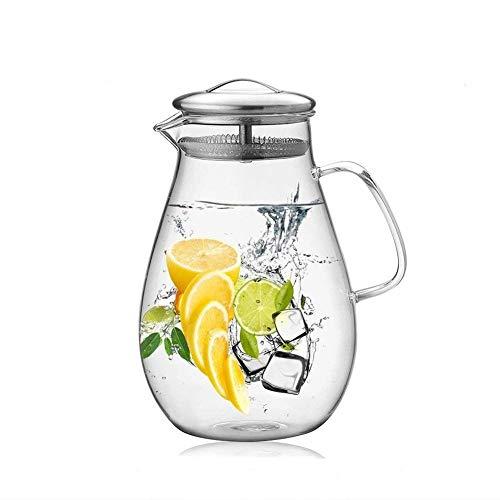 GOLDPOOL 2 Liter 68 Unzen Glas Karaffe Krug mit Deckel und Auslauf, Wasserkaraffe, Eistee Krug, Saft Krug, für hausgemachte Getränke/Eistee/Milch/Kaffee/Wein