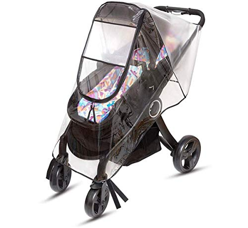 Emoly Upgraded Universal Stroller Rain Cover, Double Door Design & Large Storage Baby Stroller Weather Shield, WaterproofStroller Cover, Food Grade EVA, Eye Protect (Black)