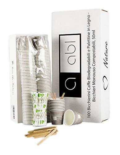 ABL 100 Bicchierini Caffe Biodegradabili e Palettine in Legno - Bicchieri Monouso Compostabili, 50ml