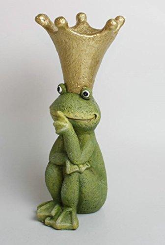 UDIG Dekofigur Frosch mit Krone, Polyresin, 41 cm, grün/Froschkönig Skulptur