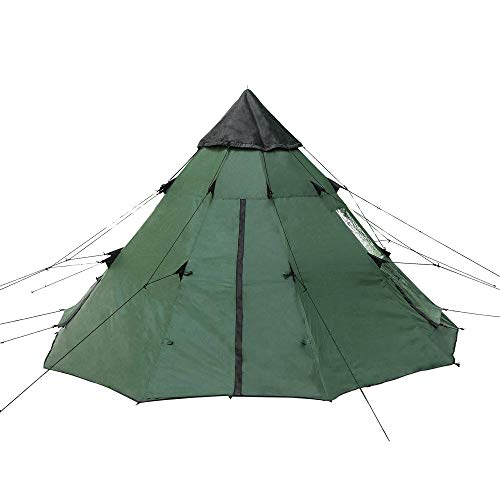 BaiYouDa 3-4 Person Family Camping Teepee Tent Outdoor Rainproof Waterproof Suitable for Camping Hiking Holidays (Green)