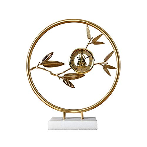 Hong Yi Fei-Shop Floor grandfather clocks Modern Table Clock/mantel Clock, Creative Ornament Desk Clock for Family Living Room and Bedroom, Marble Base, 16.3 Inches desktop clock