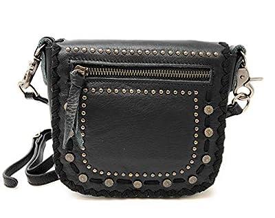 Montana West Real Leather Messenger Purse Crossbody Purse Conchos Stitching Black