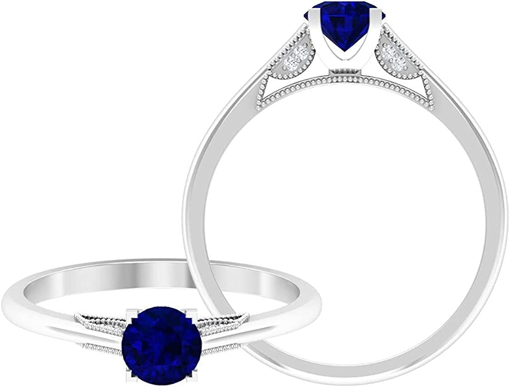 September Birthstone - 5.00 MM Solitaire Blue Sapphire Ring, HI-SI Diamond Ring, Simple Gold Engagement Ring, Gold Engraved Ring (AAA Quality), 14K White Gold, Size:US 8.5