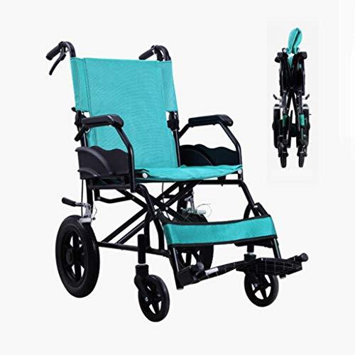ZZR Silla de Ruedas médica de 120 kg - Rueda sólida Asiento cómodo, Transporte Ligero y Plegable Marco de aleación de Aluminio Silla de Ruedas para Adultos Mayores, sillas de Ruedas acompañantes