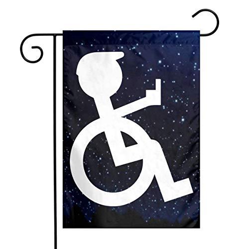 GYHJH Rollstuhl Logo Garden Yard Flagge 12 'x 18', Polyester Welcome House Flag Banner für Patio Lawn Outdoor Home Decor