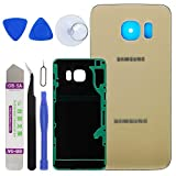 LUVSS New Back Glass Replacement for [Samsung Galaxy S6 Edge Plus] G928 (All Carriers) Rear Cover Glass Panel Case Housing with Adhesive Preinstalled Repair Part (Gold)