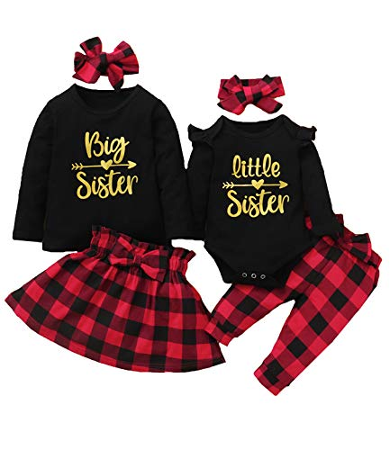 Aslaylme Baby Girls Litter Sister Outfit Christmas Matching Sister Bodysuit with Headband (Red-Little Sister,3-6 Months)