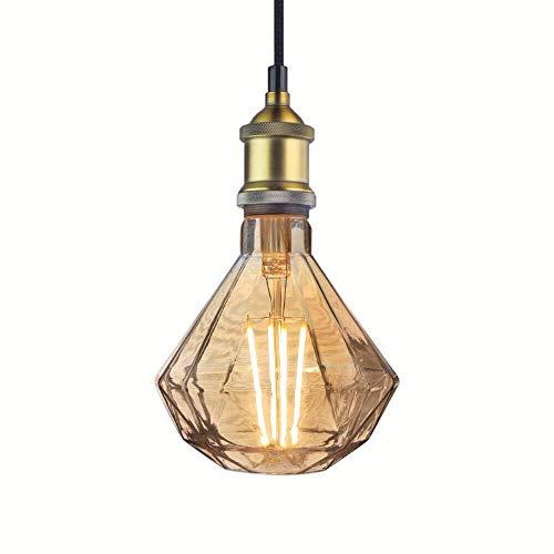 Industrial Pendant Light Vintage Bronze Metal Socket Diamond Glass Led Bulb 6 Watts, Ceiling Lamp Gifts