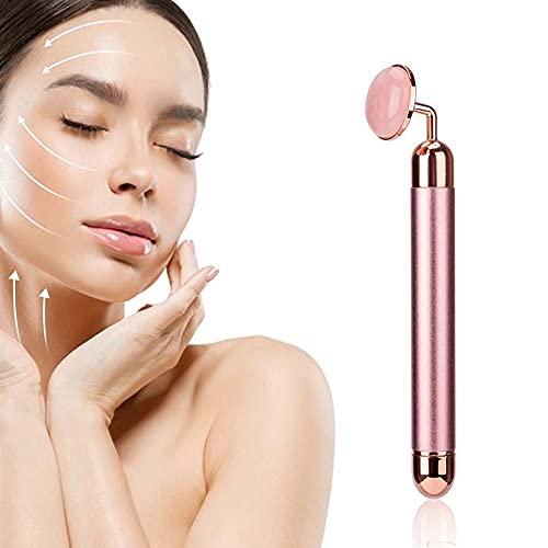 WANGIRL Rodillo de Jade Facial Eléctrico Masajeador Facial Impermeable Masajeador Roller Tools Anti Aging Belleza Natural Dispositivo Herramienta Piedra de Masaje Regalo Mujer (Color : Pink B)