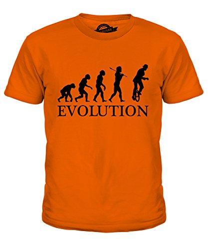 Candymix Einrad Evolution des Menschen Unisex Jungen Mädchen T Shirt, Größe 6 Jahre, Farbe Orange