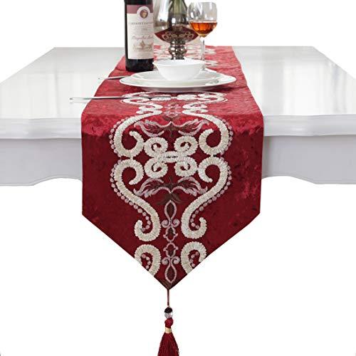 Patrón de terciopelo bordado de la borla de lujo decorativo de la casa camino de mesa de fiesta, Rojo, 33 *...