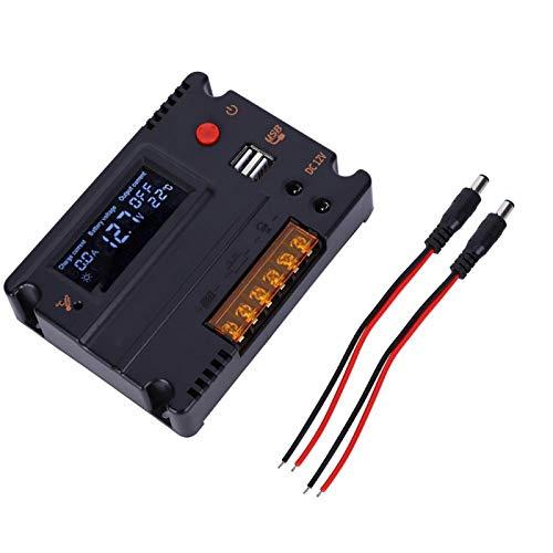 Regulador de panel solar, pantalla retroiluminada, controlador de generación de energía, controlador de batería LCD de 10 A, hogar al aire libre para batería de fosfato de litio de la serie