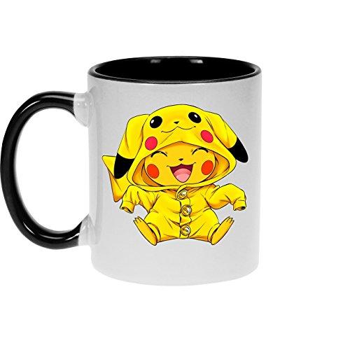 OKIWOKI Pokémon Lustiges Schwarz Tasse - Pikachu - Ultimate Cosplay (Pokémon Parodie) (Ref:880)