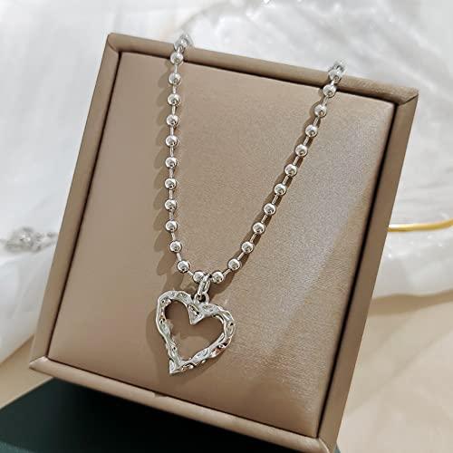 WDBUN Collar Colgante Joyas Cadena de Cuentas de Hadas Simple Collar de corazón de melocotón Collar Corto Femenino Borla Cadena de clavícula Temperamento Colgante de Amor Navidad cumpleaños Regalo