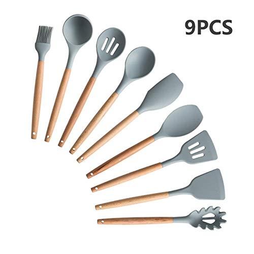 9/11/12/13 Ustensiles de cuisine en silicone poignée en bois Set de cuisine Outils de cuisine Ensembles Accessoires avec la boîte en acier inoxydable Stockage (Color : GRAY 9PCS A)